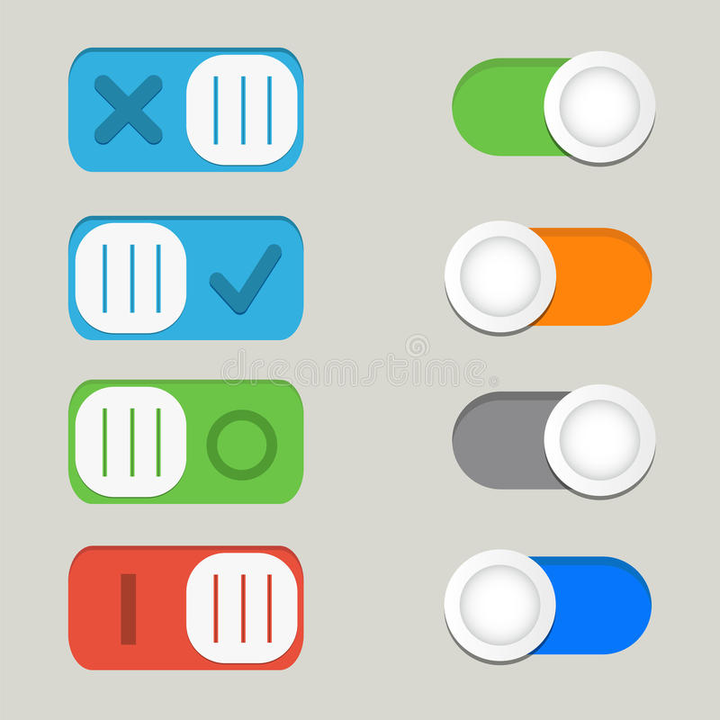 Toggle switch icons vector, on off icons. Toggle switch icons vector, on off icon royalty free illustration