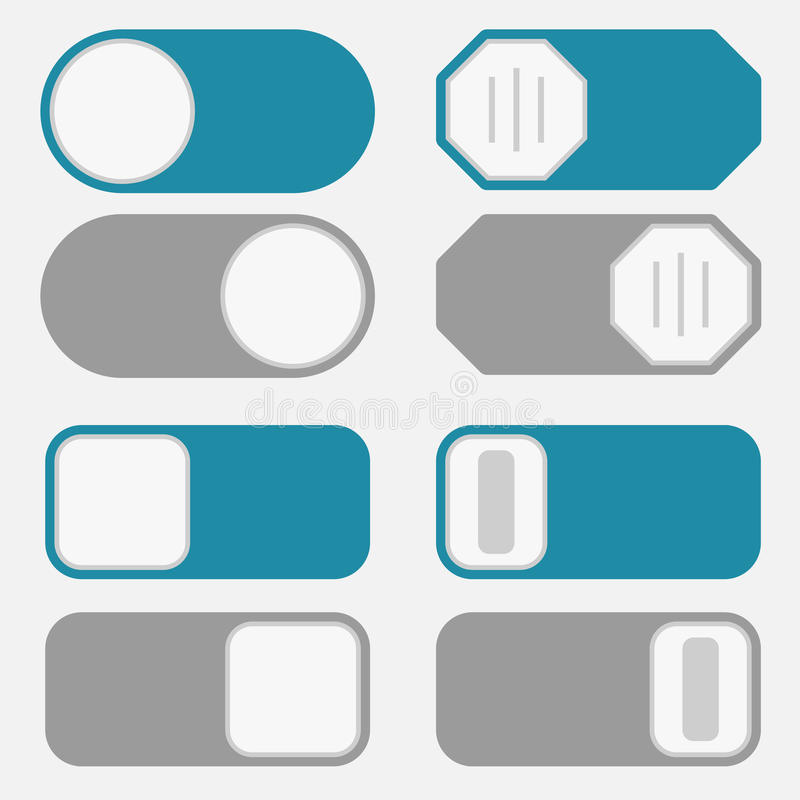 Toggle switch, on off button. Toggle switch simple icons, on off position button interface trigger set, blue and gray control modern minimal flat design style stock illustration