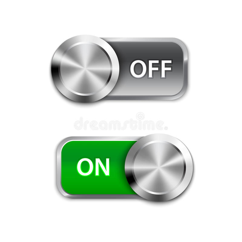 Toggle Switch On and Off position, On/Off sliders. Vector illustration royalty free illustration