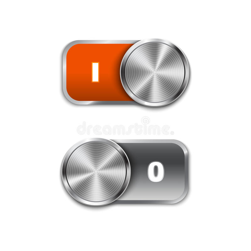 Toggle Switch On and Off position, On/Off sliders stock illustration