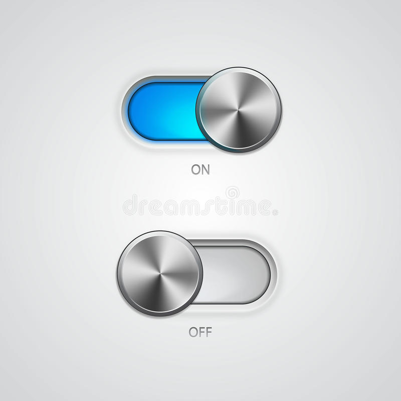 Toggle Switch On and Off position. Vector Illustration royalty free illustration
