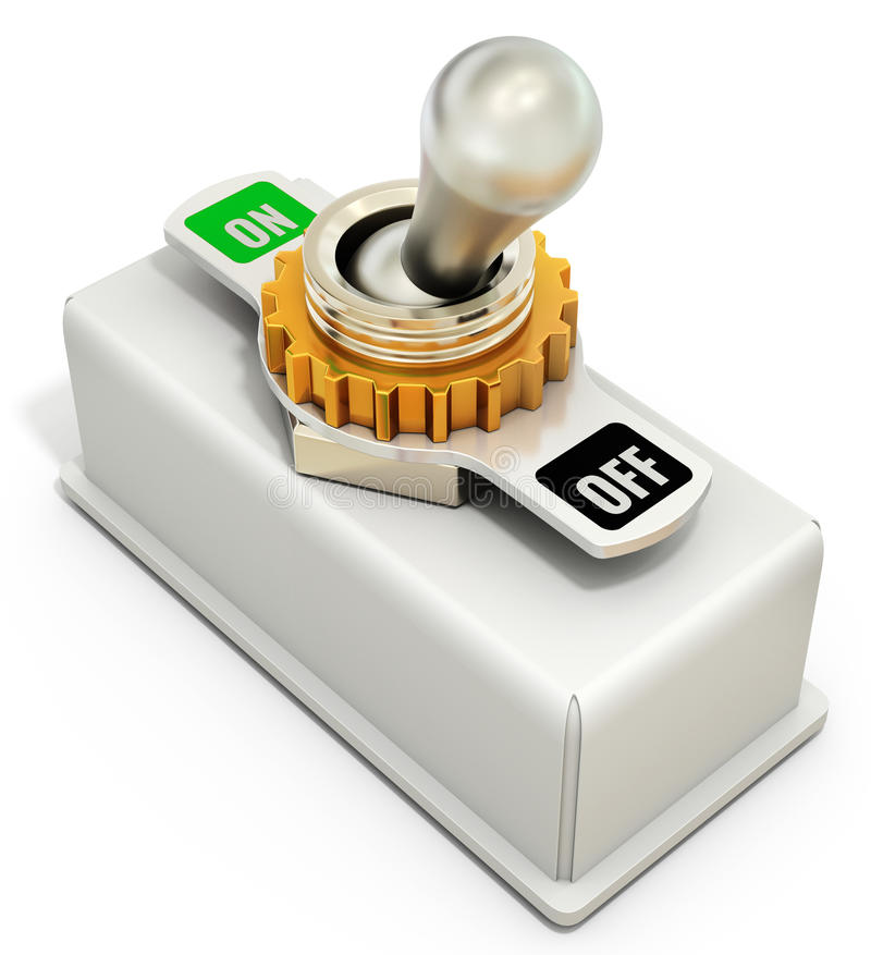Toggle switch, power on off. On white background 3D illustration stock illustration
