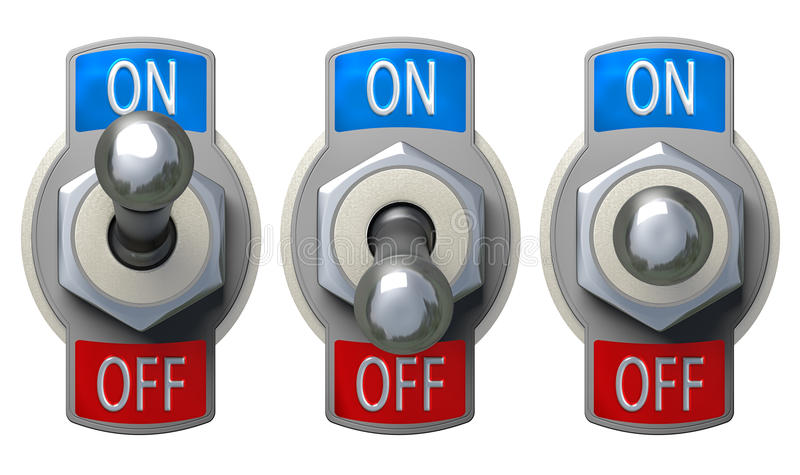 Toggle Switch set with clipping path. Toggle Switch set - isolated, clipping path included royalty free illustration