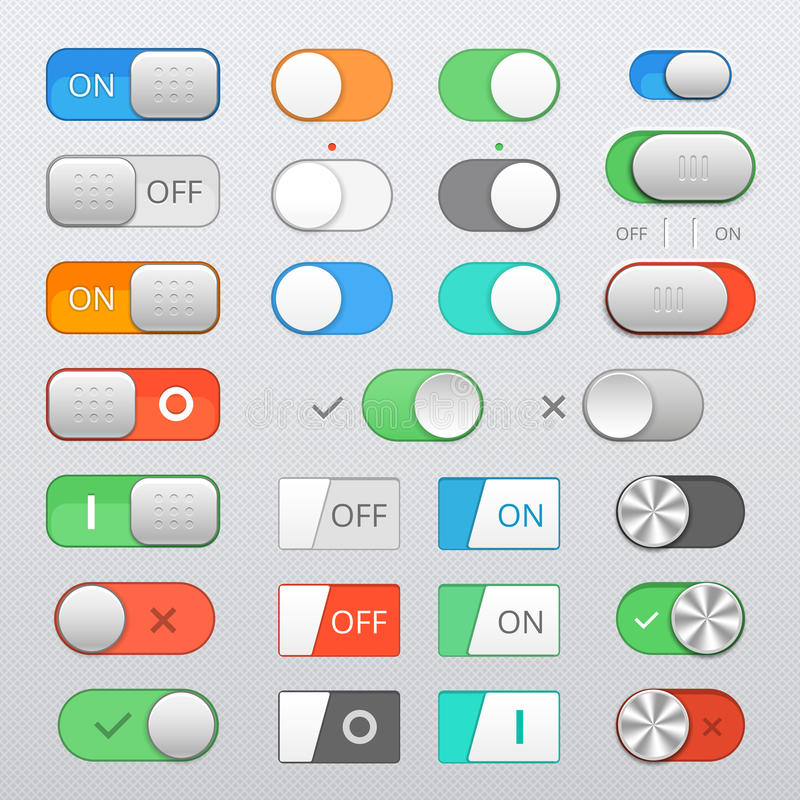 Toggle switch set. On and Off sliders, vector elements stock illustration