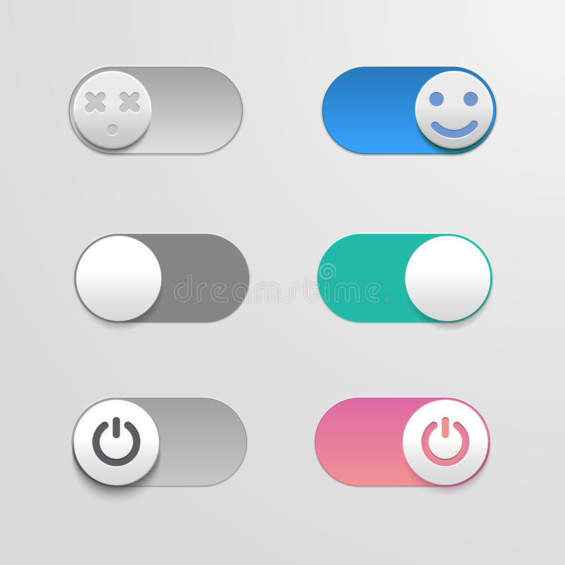 Toggle switch set, On and Off sliders, vector elements for your design. The switches in the form of smiley. Toggle switch set, On and Off sliders, vector stock illustration