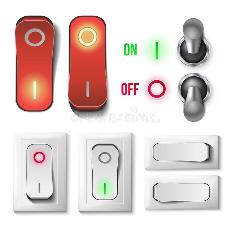 Toggle Switch Set Vector. Plastic And Metal Switches With On, Off Position. Isolated On White Button Illustration. Toggle Switch Set Vector. Plastic And Metal vector illustration