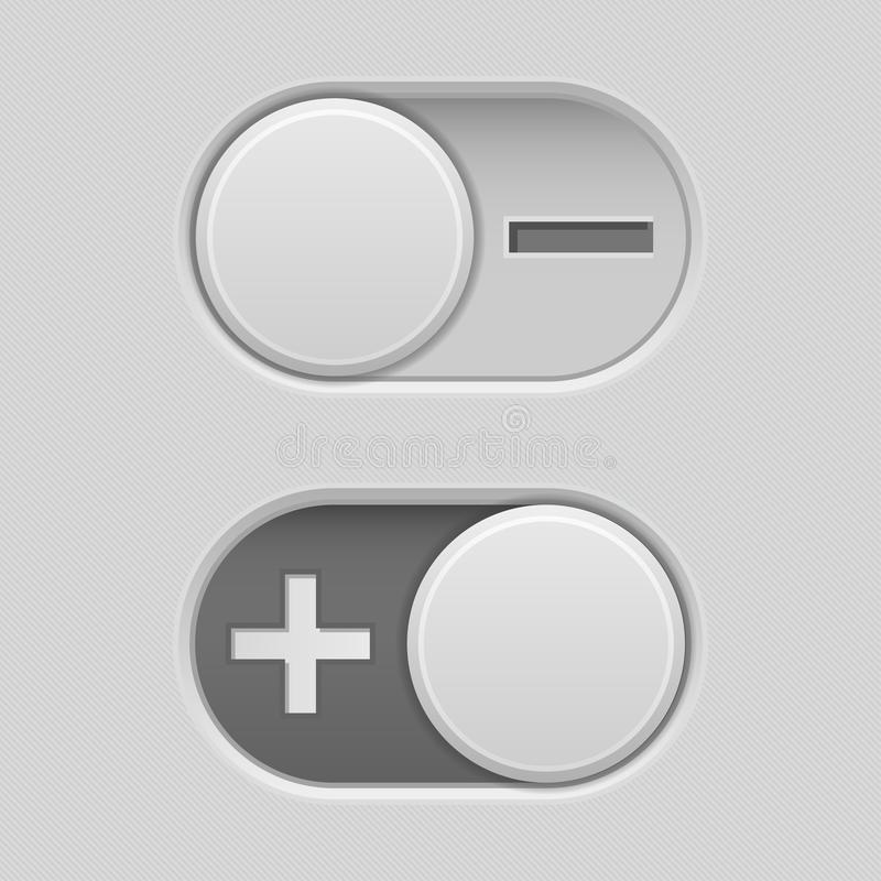 Toggle switch slider buttons with Minus and Plus signs. Vector 3d illustration vector illustration