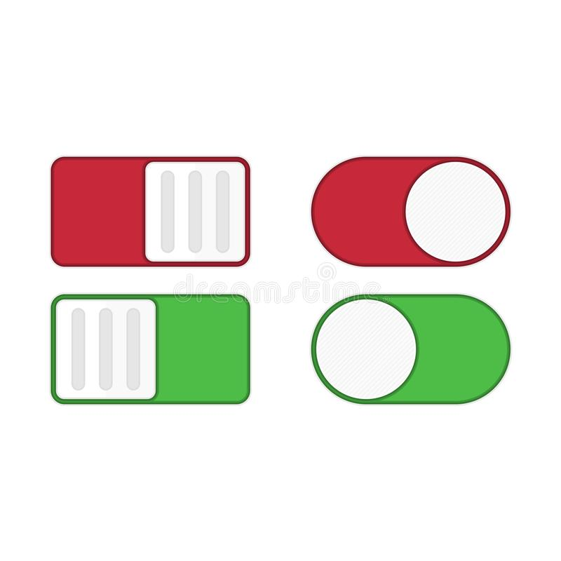 Toggle switch vector icon. Toggle switch icon, on, off position. Modern selector green, white and red colors. Template for mobile applications, web design vector illustration