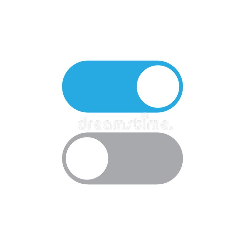 Toggle switch vector icon, On and Off position simple icons stock illustration