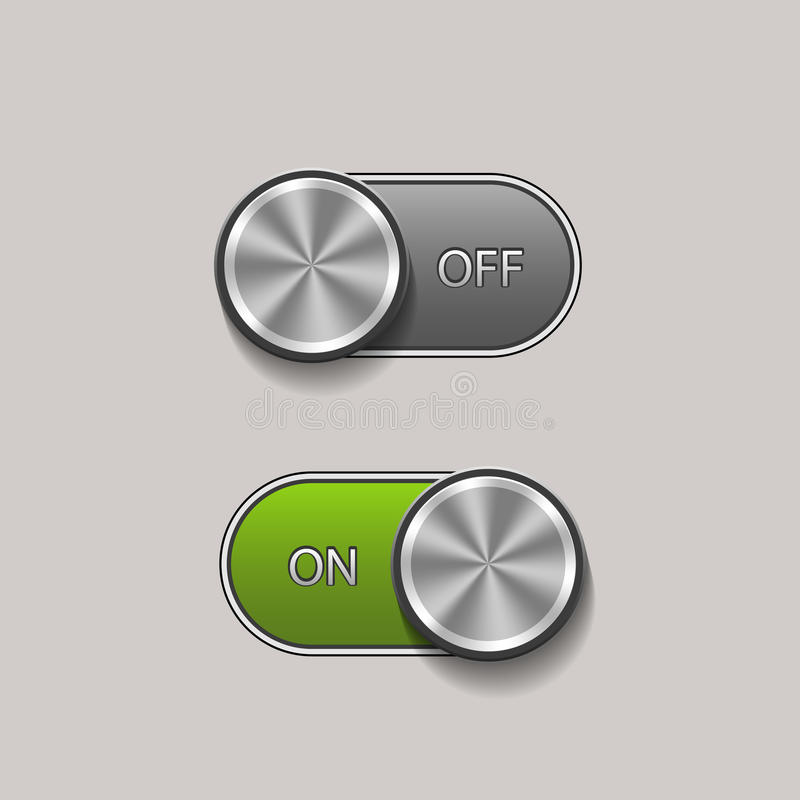 Toggle Switch. Vector Toggle Switch On and Off position, On/Off sliders vector illustration