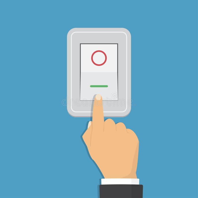 Toggle zmiana Elektryczny kontrolny pojęcie wektorowy graficzny projekt Isometric ikona Ręka obraca dalej światło royalty ilustracja