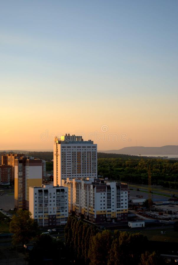 Morning view of the hotel complex Vega and new buildings on the street of the Revolutionary. Togliatti, Samara region, Russia - August 14, 2018: Morning view of stock photo