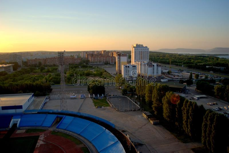 Morning view of the hotel complex Vega and new buildings on the street of the Revolutionary. Togliatti, Samara region, Russia - August 14, 2018: Morning view of royalty free stock photos