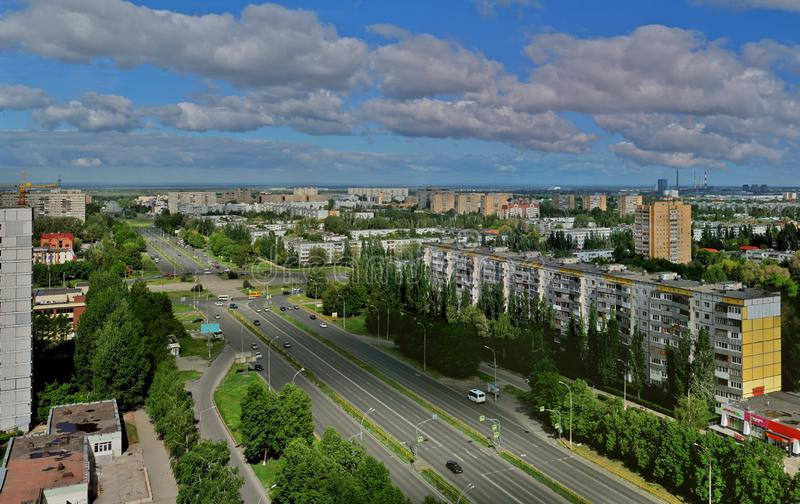 Morning panorama of the greening city of Togliatti in the rays of the sun overlooking Sverdlov Street. stock photos
