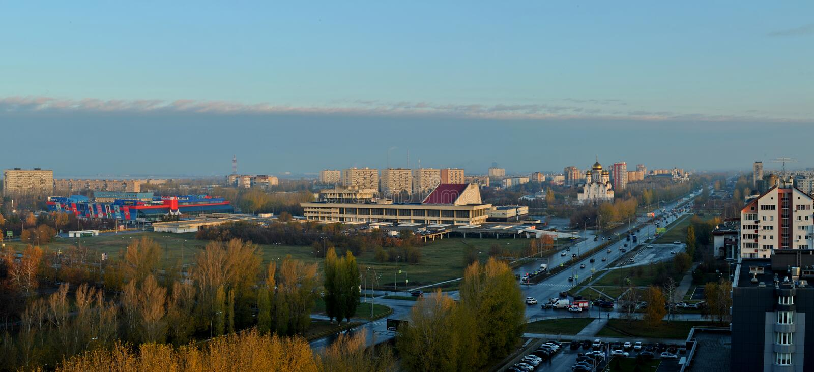 Morning panorama overlooking Victory Park, Transfiguration Cathedral and the building of the cultural center Autograd. royalty free stock photo
