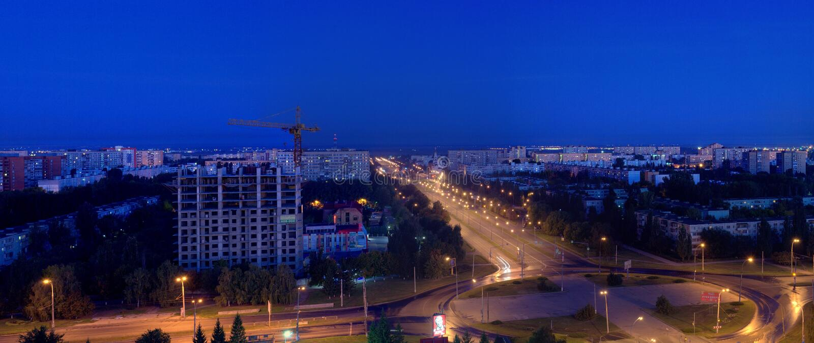 Night panorama of the city of Togliatti from the height of the 16th floor of a residential building. royalty free stock photography