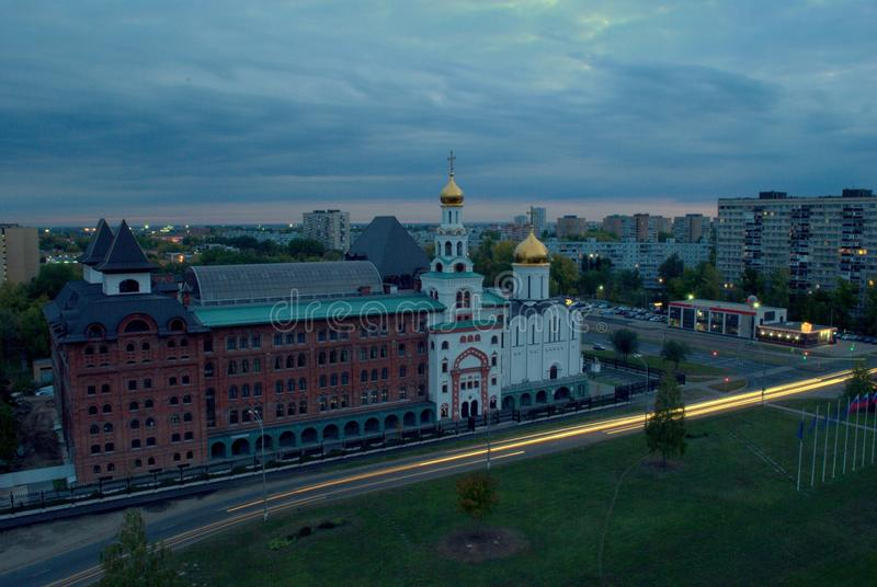 Panorama of the city on an early autumn morning with a view of the Volga Orthodox Institute and the Church of the Three Saints. royalty free stock photography