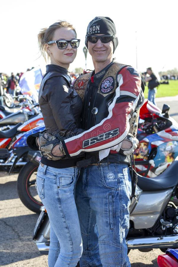 TOGLIATTIGRAD, RUSSIA, IL 9 MAGGIO 2018: manifestazione dei motociclisti dedicati a Victory Day fotografia stock