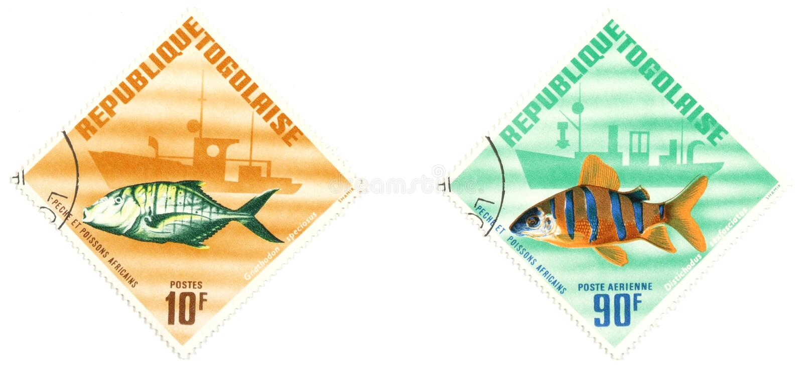 Togo. Collectible stamps from Togo. Set with exotic fish royalty free stock photos