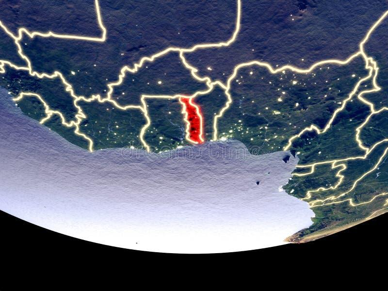 Togo bij nacht van ruimte royalty-vrije stock afbeeldingen