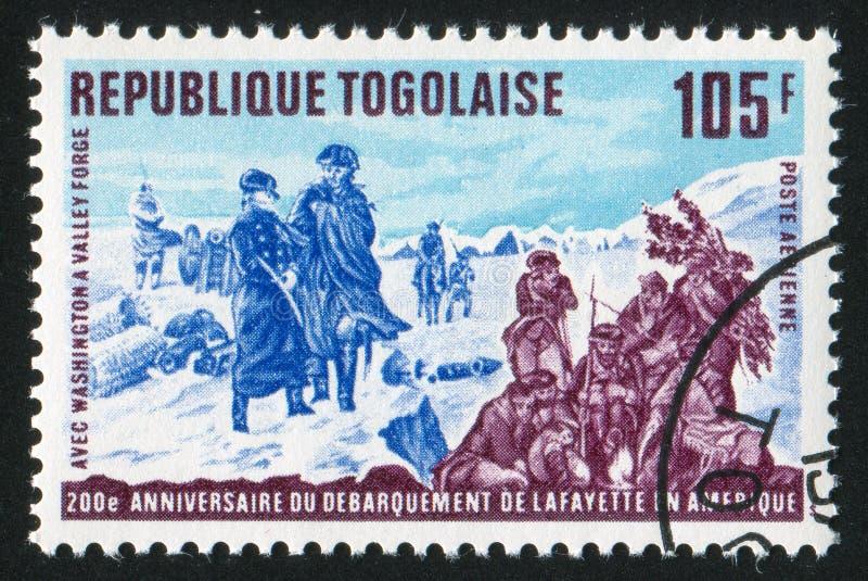 Washington. TOGO - CIRCA 1977: stamp printed by Togo, shows Lafayette and Washington at Valley Forge, circa 1977 stock photos