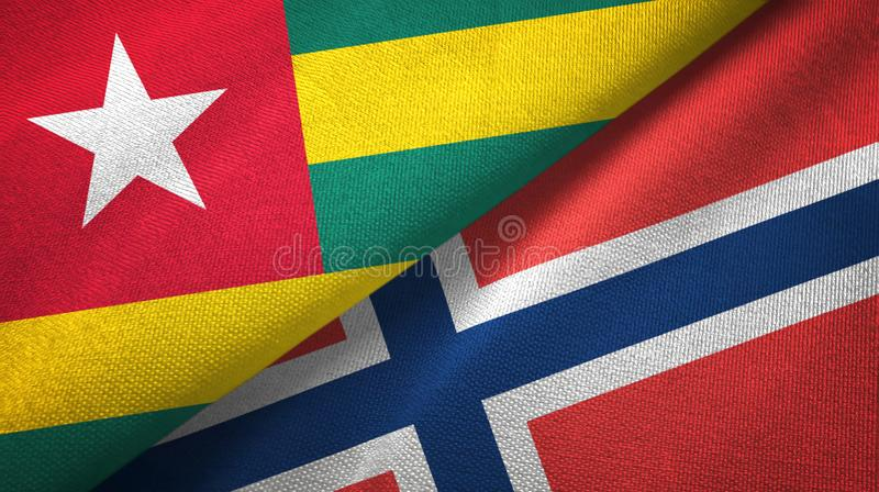 Togo en Noorwegen twee vlaggen textieldoek, stoffentextuur vector illustratie