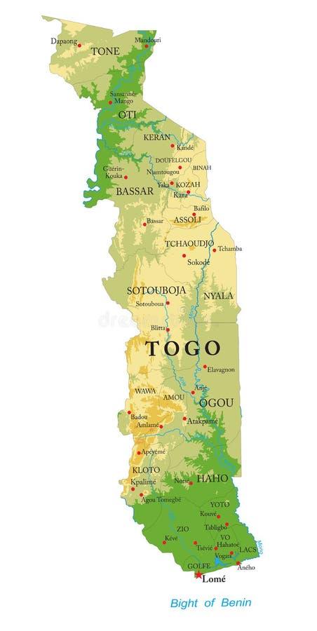 Togo fizyczna mapa ilustracja wektor