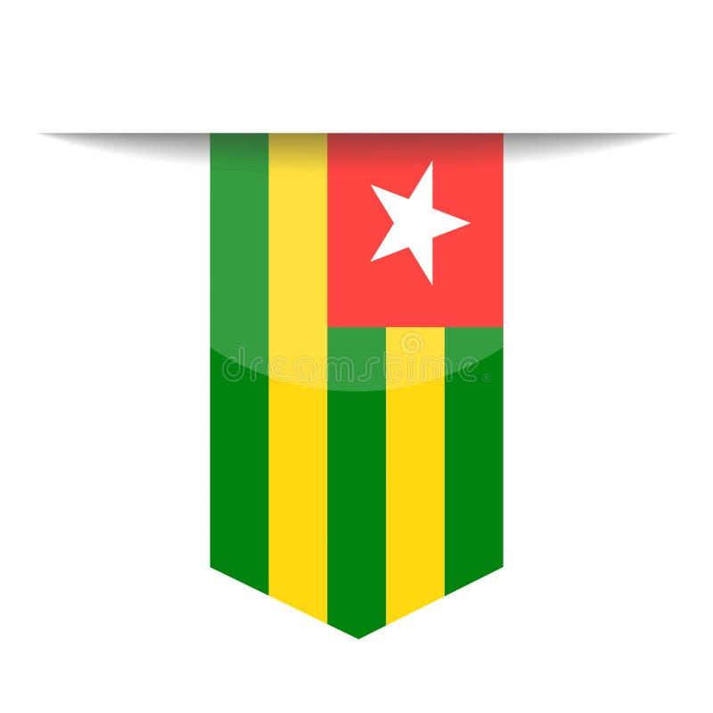 Togo Flag Vector Bookmark Icon stock de ilustración