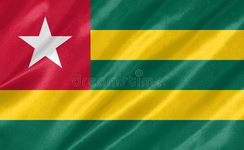 Togo Flag. With waving on satin texture stock photo