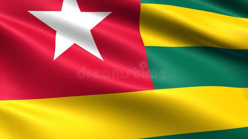 Togo flagga, med vinkande tygtextur vektor illustrationer