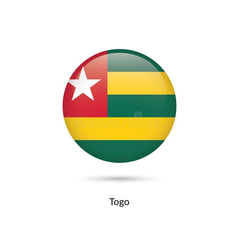 Togo flagga - rund glansig knapp stock illustrationer