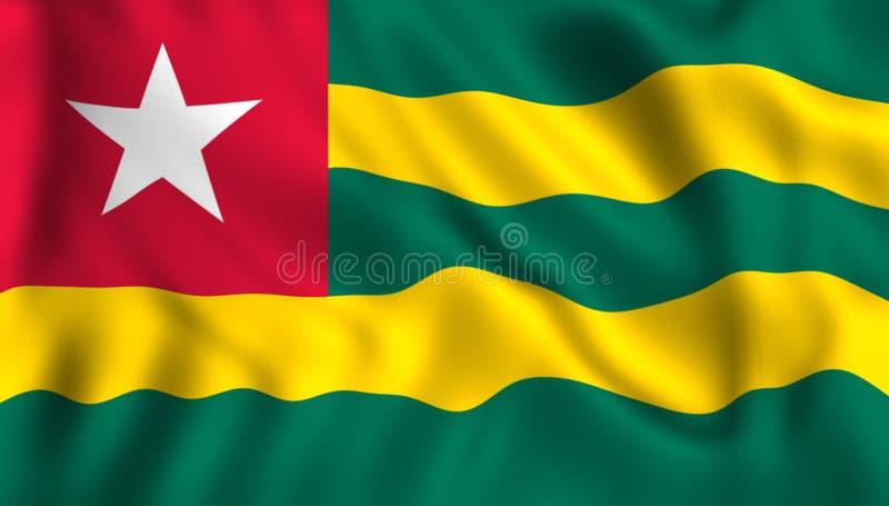 Togo flagga som vinkar i vinden stock illustrationer