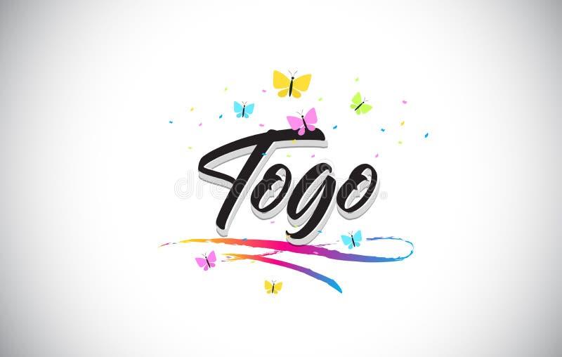 Togo Handwritten Vector Word Text con le farfalle e variopinto mormorano illustrazione di stock