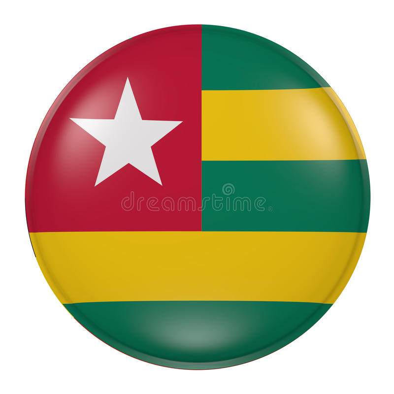 Togo knapp på vit bakgrund stock illustrationer