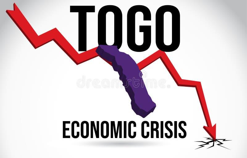 Togo Map Financial Crisis Economic Collapse Market Crash Global Meltdown Vector. Illustration vector illustration
