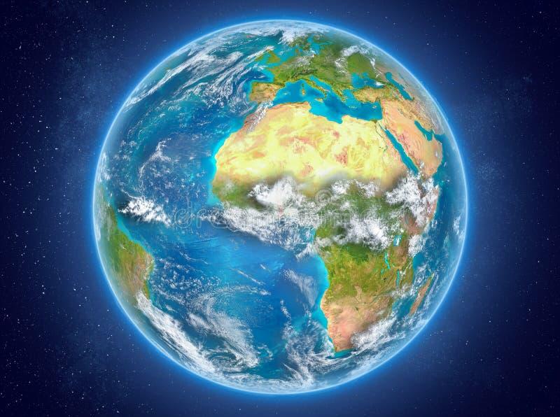 Togo op aarde in ruimte vector illustratie
