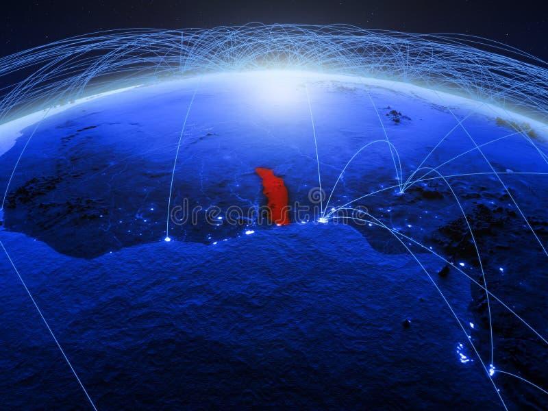 Togo op blauwe digitale aarde met internationaal netwerk die mededeling, reis en verbindingen vertegenwoordigen 3D Illustratie stock afbeelding
