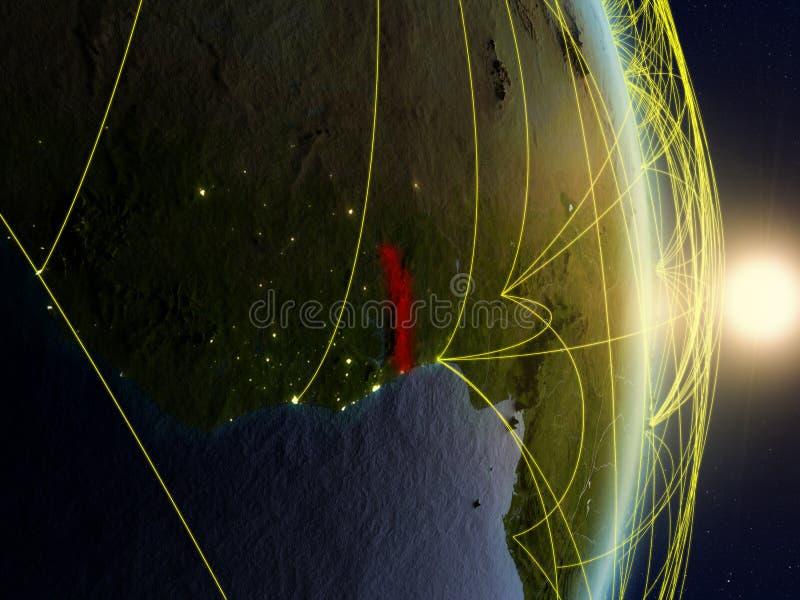 Togo op genetwerkte aarde stock afbeelding