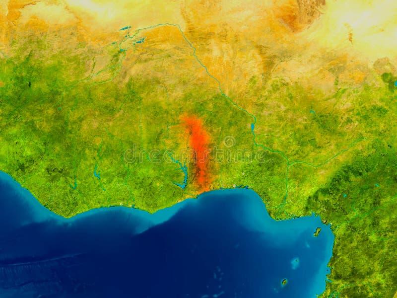 Togo on physical map stock illustration Illustration of focus