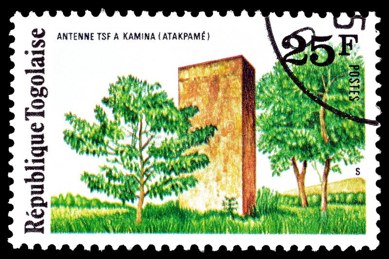 Togo on postage stamps. Cancelled postage stamp printed by Togo, that shows radio station Kamina, circa 1975 stock images