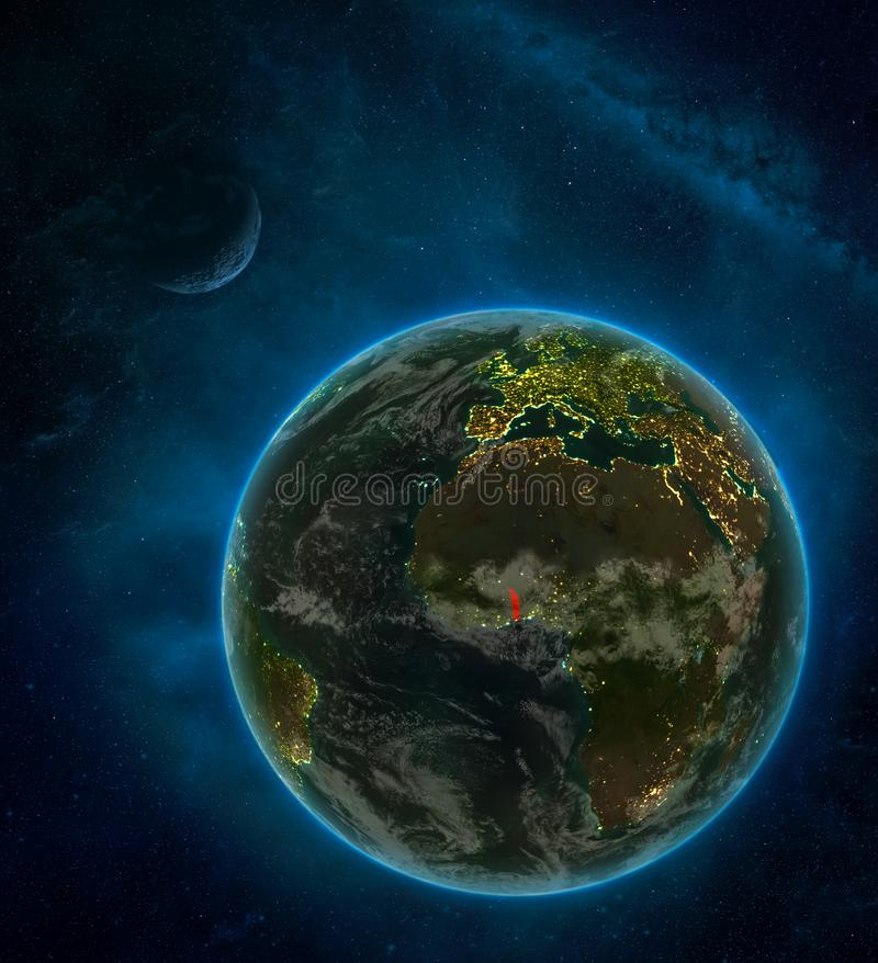 Togo from space on Earth at night surrounded by space with Moon and Milky Way. Detailed planet with city lights and clouds. 3D. Illustration. Elements of this royalty free illustration