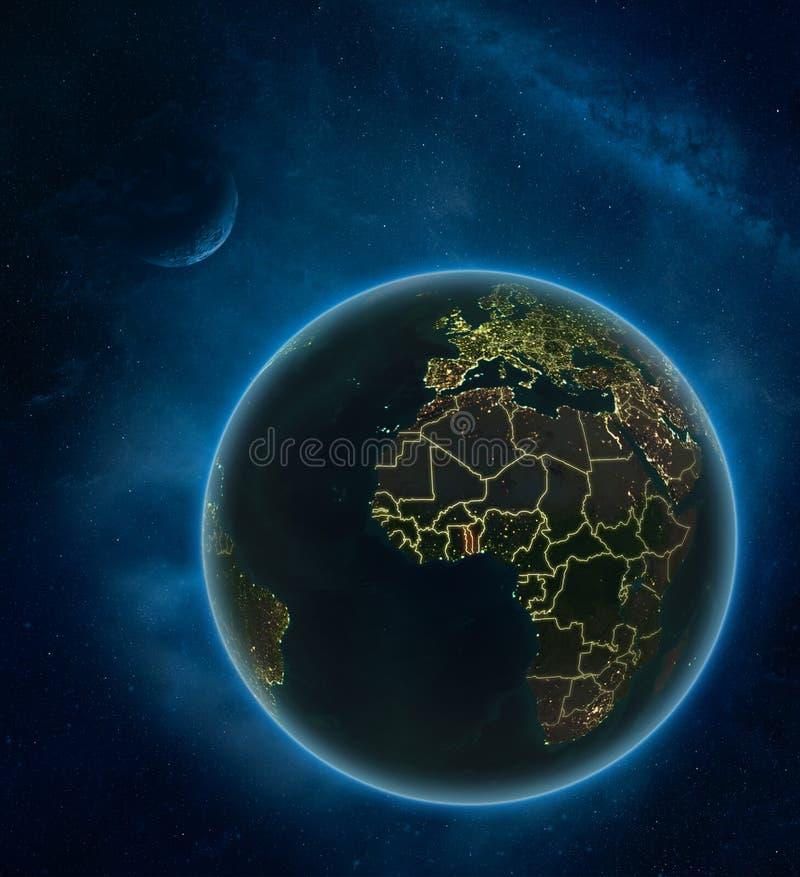 Togo van ruimte bij nacht stock illustratie