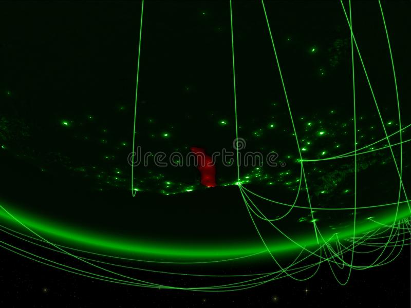 Togo van ruimte met netwerk stock foto's