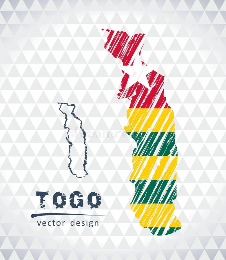 Togo vektoröversikt med flaggainsidan som isoleras på en vit bakgrund Skissa drog illustrationen för krita handen vektor illustrationer