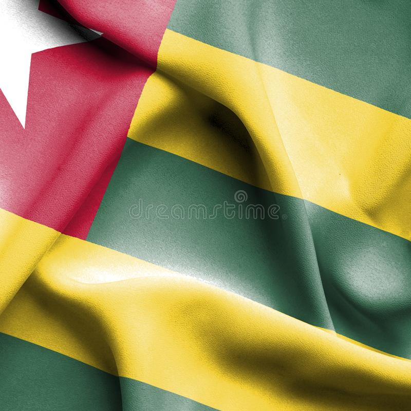 Togo vinkande flagga stock illustrationer