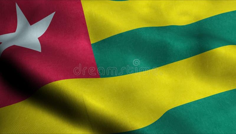 Togo Waving Flag i 3D stock illustrationer