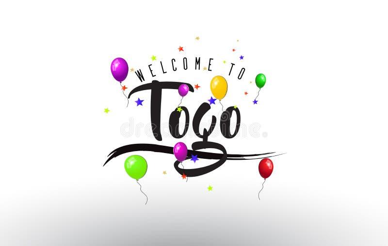 Togo Welcome a mandar un SMS con los globos coloridos y las estrellas diseñan stock de ilustración