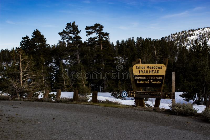 Tohoe Meadows Trailhead Signage royalty free stock photos