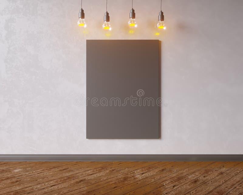 Toile accrochant sous les ampoules de vintage décoratif illustration 3D illustration stock