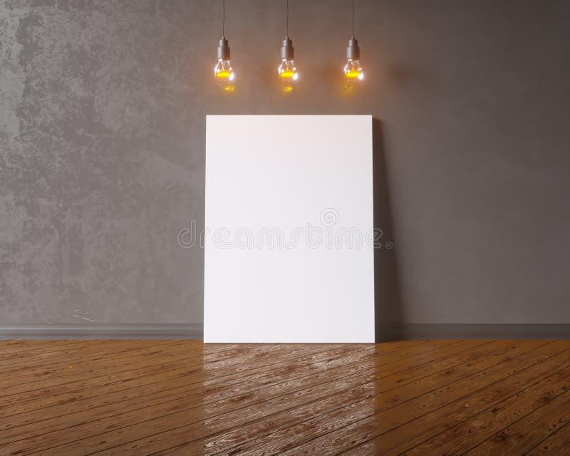 Toile accrochant sous les ampoules de vintage décoratif illustration 3D illustration libre de droits